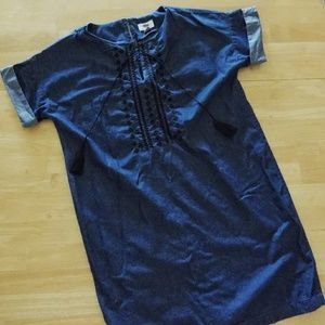 Tassled Chambray Tunic Dress - Hippie Chic